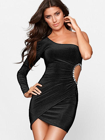 ONE-SHOULDER CUTOUT DRESS - Designed for glamorous nights out, this little black dress is set to stun! In an elegant one-shouldered silhouette, it features a gorgeous side cutout adorned with glimmering jewels. Finished with a flirtatious tulip hem.  Imported.