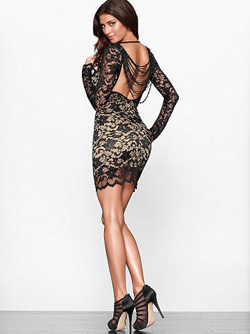 Beaded Lace Dress - Drape your body in sheer luxury after dark. Allover lace over an illusion sheath offsets this dress's daring low back, which boasts a draped, beaded fringe. It's a classic--yet undeniably sexy--statement for nights out. Features include:
