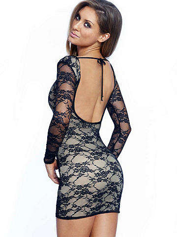 Long Sleeve Lace Body-Con Dress - Sheer floral lace shapes this chic little black dress. With a body-conscious silhouette and ultra-glam open back, it's the ideal cocktail dress for your social circuit needs! Sheer sleeves. Partial lining. Ties at the back of neck. Imported.