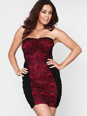 LACE OVERLAY STRAPLESS DRESS Plus - From date-night to girl's night, meet the dress that does it all! This stunning new style features gorgeous lace overlay and ruched sides that flatter your body. Finished with lightly padded cups, and a strapless silhouette. USA.