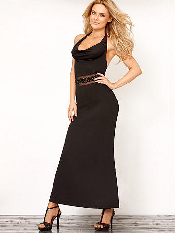 Jeweled Halter Maxi Dress