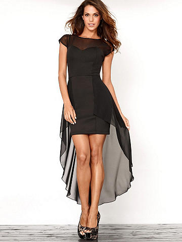 Illusion High-Low Dress