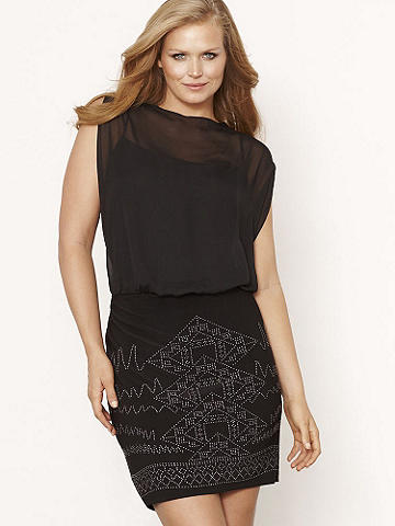 Beaded Chiffon DRESS PLUS - The ultimate cocktail dress has arrived!  Featuring a sheer chiffon top layered over a cami, this dress is designed in a figure-flattering blouson silhouette. The body-hugging, banded bottom is embellished with faceted, heat-transfer beading. Slip it on and watch heads turn! USA.