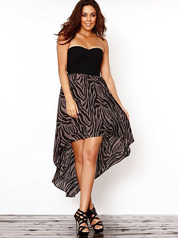High-Low Strapless Dress Plus