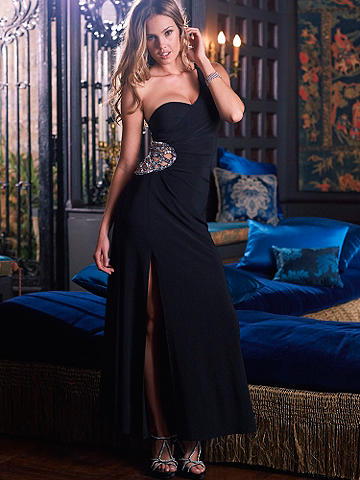 Beaded Cutout Gown - Statuesque, elegant and impossible to resist, this dramatic floor-length gown features a Grecian-inspired silhouette. A flattering cutout detail at the waist stuns with delicate beading. Finished with a side slit. Lined. Add red-carpet glamour with an updo and glittering heels. Imported.