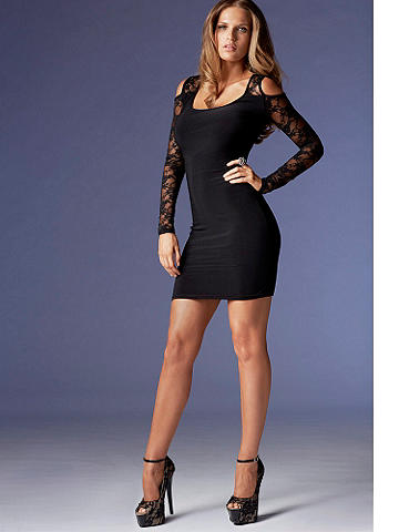 Cold Shoulder Sheath - A sexy update to the iconic little black dress, this body-loving style is a must–have for date-night. Featuring cutout shoulders and a lace panel in back, it's perfect paired with stilettos and a bright lip! Imported.