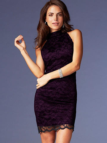 Lace Halter Sheath - A bombshell body-con silhouette makes this lace dress the season's answer for sexy. Finished with a delicate lace overlay and halter neck, all you need is a sparkling clutch and black heels for the ultimate night-out look! Partially lined.