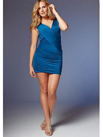 "Draped Front Dress PLUS - Sexy yet polished, with a day-to-night punch, this ruched dress will flatter as it fits. The body-loving details include: Gathered sides. Asymmetrical zipper front. 34"" from shoulder to hem. Complete the look with a crimson kisser, heels and a sparkling bangle. Polyester/spandex. Imported."