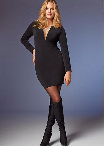 V-Neck Long Sleeve Dress PLUS - Edgy-chic chain detailing transforms this dress into a cocktail must-have! Featuring a: Chain V-neck. Long sleeves. Shift silhouette. Take it to ultra-glamorous heights with sparkling heels. Polyester/spandex. Imported.