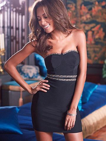 "Strapless Empress Dress - This simple sheath is transformed with bold, Egyptian-inspired trim. The accented high waist flatters and lengthens as it hugs your curves. Fully lined. 35"" from top of bodice to hem. Add strappy sandals and a clutch for sleek perfection! Polyester/spandex. Imported."