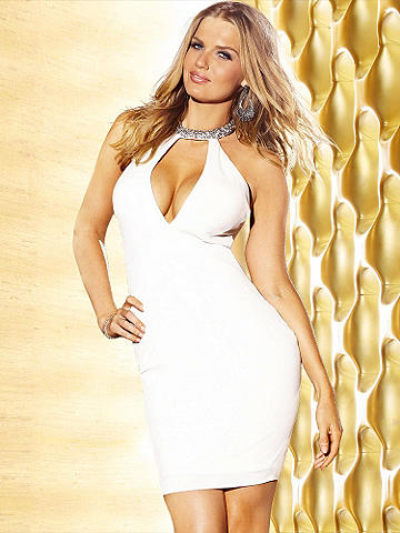 Strappy Rhinestone Back Dress - Incredible rhinestone straps in back and a form-fitting silhouette transform a club dress into a statement stunner. Accented with a daring V-neckline and lined at the bust for a smooth finish. Hook-n-eye closures at the collar. Imported.