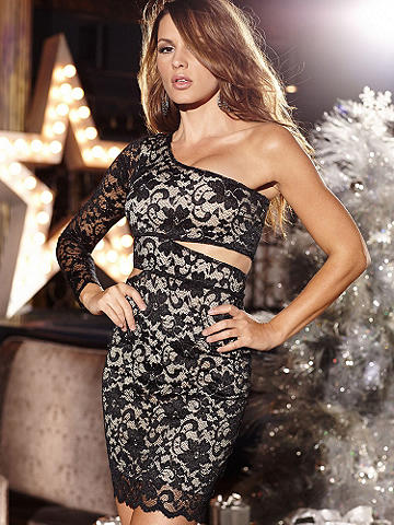 One Shoulder Cutout Lace Dress - A body-loving silhouette and sexy, one-shoulder design make this lace dress a must-have for nights out. Finished with a delicate lace overlay and alluring cutouts, all you need is a sparkling clutch and black heels for the ultimate night-out look. Finished with sheer lace sleeve. Imported.