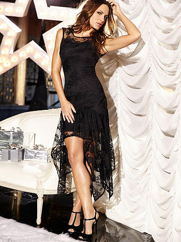 Lace Handkerchief Hem Dress - You love to show off your body, and so does this glamorous, new dress! With delicate lace panels and flowing high-low lace skirt, all you need is a bold lip to give your look a statement-making spin. You'll be the center of attention at all your holiday galas! Back zipper. Nylon/polyester/spandex. Imported.