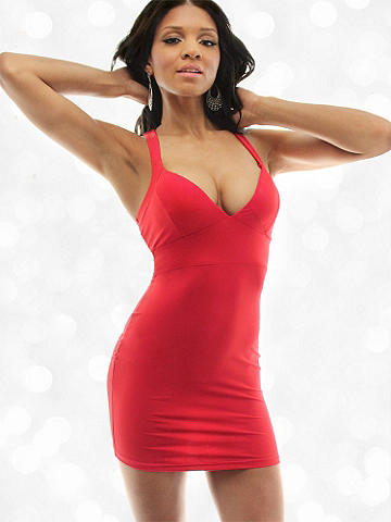 Fitted X-Back Dress - This essential body-con dress is the most perfect layering piece. Accent it with all your favorite jewelry, pair it with a sleek blazer and finish it with your strappiest sandal. Lightly padded cups and straps that cross in back. Rayon/spandex. Imported.