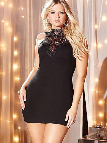 High Neck Lace Ponte Dress PLUS - The classic Little Black Dress gets some glamorous updates for the holiday season. The body-slimming, ponte knit silhouette is accented with intricate lace the high neckline. Finished with an alluring low back and ties at the neck. Accessorize it with stacked bangles and your favorite strappy sandal. Imported.