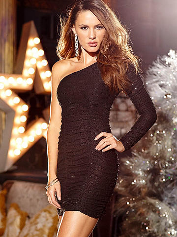One-Shoulder Ruched Sequin Dress - Looking for the most unforgettable New Year's Eve dress? You found it! Be set to stun when the clock counts down in this chic, curvaceous style. The body-hugging beauty is designed with allover ruching and lightly touched with sequins. The one-shoulder style reveals just enough of your gorgeous figure. Polyester/spandex. Imported.