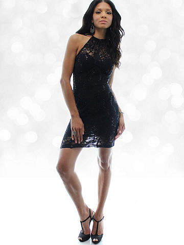 Lace Halter Mini Dress - Ready to ring in the New Year? Don a sexy dress that's little, lacy and oh-so-hot, a glass of bubbly and showcase your moves while you wait for midnight. Finished with lightly padded cups, underlay and high neckline. Nylon/polyester/spandex. Imported.