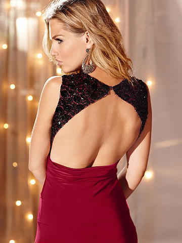 Bejeweled Appliqué Dress - You'll have no problem getting past any velvet rope on New Year's Eve in the winter season's most stunning frock star. Crafted in a silky knit fabric with subtle shine, its beautiful features include: 