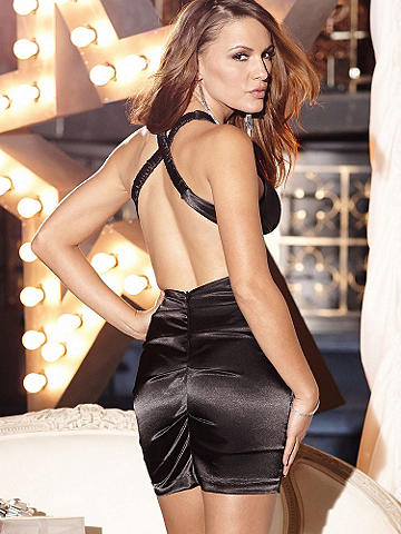 Bejewled Satin X-Back Dress - New Year's Eve is coming--what will you wear on the most glamorous night of the year? We suggest this sleek, shining satin sheath. It hugs your body with allover ruching and gets glittering with jeweled accents across the bust. Finished with a sexy X-back--just add a sweep of liquid black liner and a bold red lip to make it the most fabulous night ever. Imported.