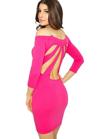 Rhinestones & Cutout Dress - This body-conscious dress is ready for after dark, thanks to a sexy open back and twinkling rhinestone straps. Designed in an alluring off-shoulder silhouette. Polyester/spandex. Imported.