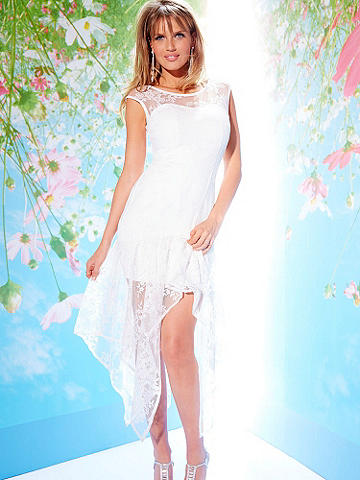 White Lace Handkerchief Hem Dress - Introducing a stunning, new collection of sexy, free-spirited dresses for the bride-to-be. You love to show off your body, and so does this glamorous, new dress! With delicate lace panels and flowing high-low lace skirt, all you need is a bold lip to give your look a statement-making spin. You're sure to be the center of attention! Back zipper. Nylon/polyester/spandex. Imported.