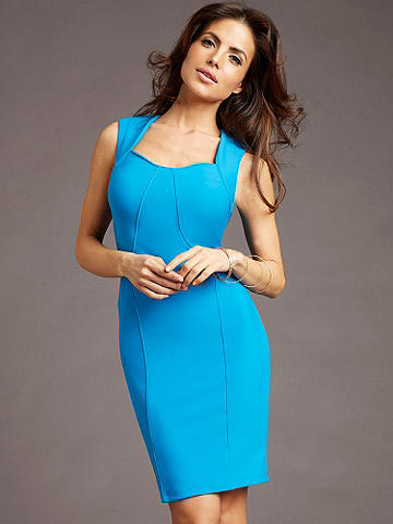 Career Chic Business Lunch Dress - Discover our new collection of alluring and sophisticated styles that get you noticed from the office to dinner and beyond. The Business Lunch Dress is designed in a beautifully draping fabric and features:  <ul>    <li>Front seams that create a flattering shape</li>    <li>Square neckline</li>     <li>Cap sleeves that add retro flair</li> </ul> Just add a simple pump or peep-toe for award-winning style. Polyester/spandex. Imported.