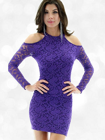 Cold-Shoulder Lace Mini Dress - Gorgeous lace and unexpected cold-shoulder accents bring the glamour on this night-out body-con dress. Celebrate your confidence in its incredibly alluring silhouette, and amp up the excitement with a pop of rhinestones and a divine T-strap sandal. Imported.
