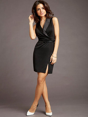 Career Chic Tuxedo Dress - Introducing a new collection of sleek, chic career wear that takes you from the boardroom to cocktail hour in alluring style. This stunning, get-noticed dress crafted in a figure-flattering fabric features: 