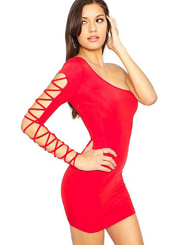 NEW CrissCross-Sleeve One-Shoulder Dress - The season's must-have club dress takes you from dusk to dawn in statement-making style. The ultra-sexy, body-con silhouette features one sleeve in a racy crisscross design. Polyester/spandex. Imported.