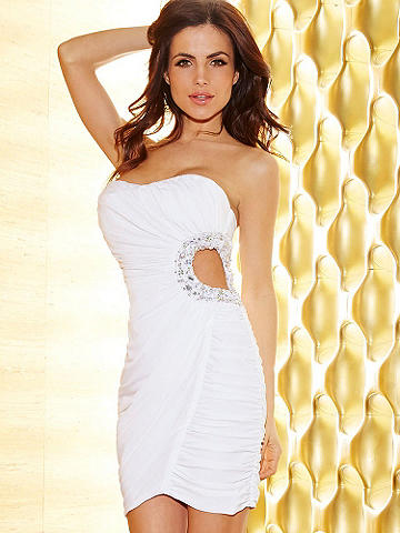 Ruched & Beaded Side Cutout Dress - Celebrate summer occasions in a Little White Dress. On-trend cutout detail and jewel accents make this dress a stunner at night. The form-fitting, strapless style hugs your body with allover ruching. A high-wattage, bejeweled side cutout makes it unforgettable. 
