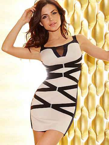 """Strappy & Sexy Bandage Dress - The bandage dress is as chic and sexy as it is timeless. This new classic is just right for sultry summer nights. Alluring features include <ul>   <li>Rich banded fabric</li>   <li>Mesh inset at the neckline</li>   <li>Elastic straps that crisscross in front</li>   <li>Hardware detail</li>   <li>34"""" length from shoulder to hem</li>   <li>Measurements taken from a size Medium</li> </ul> Polyester/spandex. Imported."""