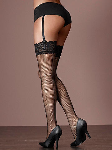 Lace-Top Backseam Fishnet Stocking Plus
