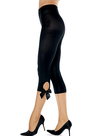 Bow Keyhole Tight - Whether it's office hours or after-hours, finish off your look with a flirty bow tie! Opaque, cropped style features keyhole and bottom bow detail. Nylon/spandex. Imported.