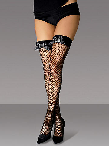 Rhinestone Buckle Fishnet Thigh High