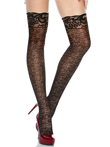 Lace Thigh High - Bring new life to your favorite skirt, dress or pair of shorts by adding a stunning pair of lace thigh-highs. Sheer style features all-over lace and a stretch fit. USA.