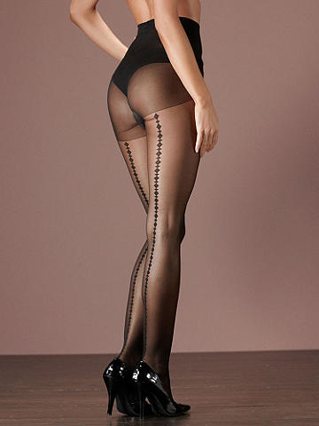 Deco Backseam Pantyhose - Is there such a thing as the perfect pantyhose? We think so! Simply slip on this captivating and silk-y smooth pantyhose featuring a deco-inspired pattern at the backseam, and you're sure to agree! Control top. USA.
