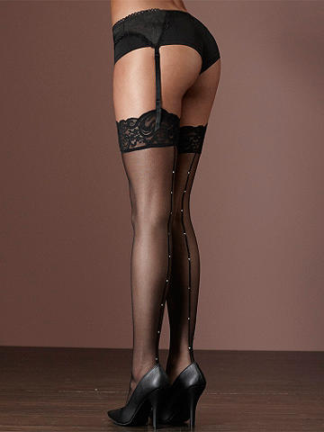 Rhinestone Backseam Thigh High PLUS