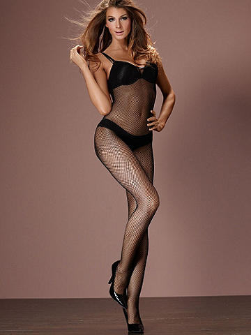 Fishnet Bodystocking - Sexy fishnet in a slimming silhouette. Crotchless. Nylon/Lycra® spandex. USA.