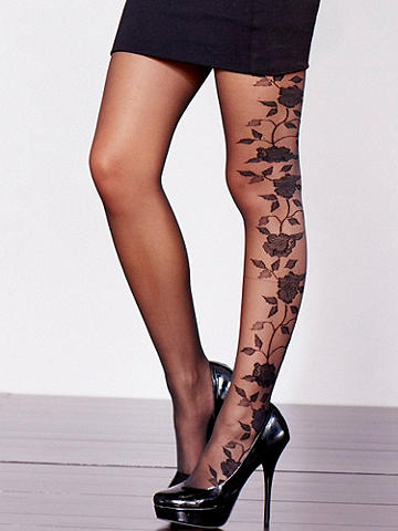 Floral Backseam Pantyhose - A beautiful take on the backseam stocking. Featuring a floral design up the back. Solid pattern against sheer base. Nylon/spandex. Imported.