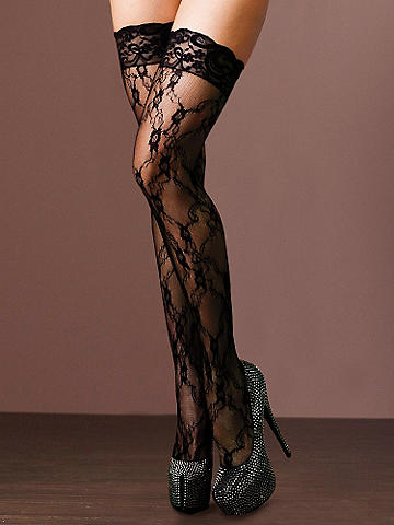 Lace-Top Lace Thigh High - Silky, luxurious lace goes over the top with sex appeal on this seductive thigh high. Accented with a lace top and racy backseam for unforgettable nights. Nylon/spandex. Imported.
