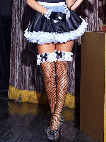 French Maid Fishnet Thigh High - The ultimate finishing touch for flirty French maids. Over-the-knee style with white lace and black satin ribbon detail. Nylon/Lycra®. Imported.