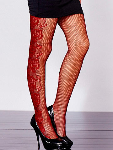 Floral Fishnet Pantyhose  - Two-tone effect plus a fishnet base. Could it get any better? Yes!  Finished with a floral design on the side of leg. Nylon/spandex. Imported.
