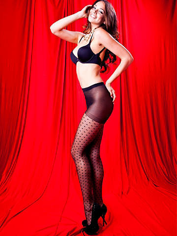 Swiss Dot Pantyhose - Add a sweet retro twist to your ensemble. Slip into our sheer panty hose with an opaque Swiss Dot detail! It features a reinforced toe. Nylon/spandex. USA.
