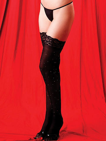 Lace-Top Sparkle Stocking - An ultra-seductive style for nights of celebration! Embellished with rhinestones and studs, this silky stocking takes your lingerie look over the top. Nylon. Imported.