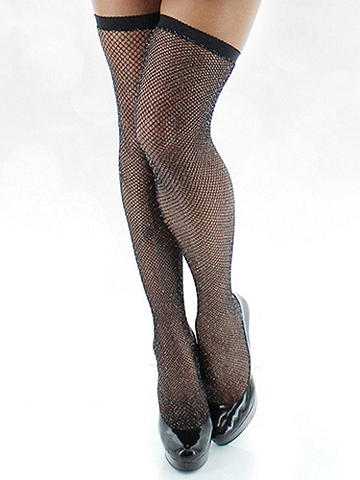 Glitter Fishnet Thigh High - The classic sex appeal of fishnet glitters for your most special nights. A perfect way to take your lingerie and after-dark dresses over the top. Designed with stay-up grip. Nylon/spandex/Lurex. Imported.