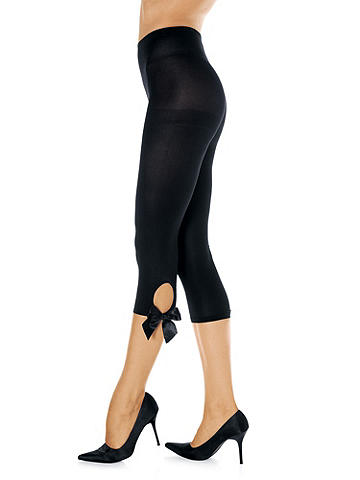 Side Bow Keyhole Tight - As if the thigh couldn't get any sexier. This sleek style gets all dressed up with a satin bow. You'll love the leg-lengthening effect and the shot of sex appeal it gives to whatever you wear. Nylon/spandex. Imported.