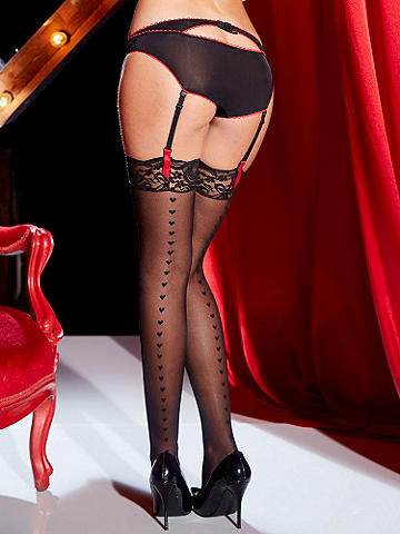 Heart Backseam Lace-Top Stocking PLUS - Racy, heart-racing and perfect for Valentine's night. Accented with a heart backseam and alluring lace top, this silky stocking is set to stun. Nylon/spandex. Imported.