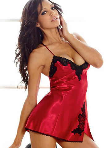 Katherine Satin Chemise - Channel old Hollywood glamour in our most luxurious satin lingerie. This shimmering chemise features beautiful lace insets at thigh and bust. Finished with adjustable straps, a side slit and low X-back. Polyester. Imported.