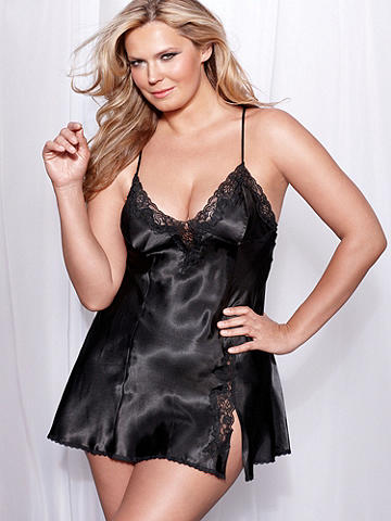 The Katherine Satin Chemise PLUS - A sumptuous shape, beautifully draped. Our best-selling chemise shines in sleek satin with a classic Hollywood flair. Accented with beautiful lace insets. Finished with adjustable straps, side slit and low X-back. Polyester. Imported.