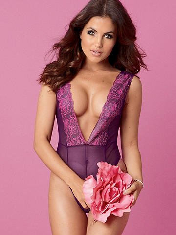 Rose Embroidered Shimmer Mesh Teddy